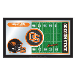 "Holland Bar Stool - Holland Bar Stool Oregon State Football Mirror - Oregon State Football Mirror belongs to College Collection by Holland Bar Stool The perfect way to show your school pride, our Football Mirror displays your school's symbols with a style that fits any setting.  With it's simple but elegant design, colors burst through the 1/8"" thick glass and are highlighted by the mirrored accents.  Framed with a black, 1 1/4 wrapped wood frame with saw tooth hangers, this 15""(H) x 26""(W) mirror is ideal for your office, garage, or any room of the house.  Whether purchasing as a gift for a recent grad, sports superfan, or for yourself, you can take satisfaction knowing you're buying a mirror that is proudly Made in the USA by Holland Bar Stool Company, Holland, MI.   Mirror (1)"