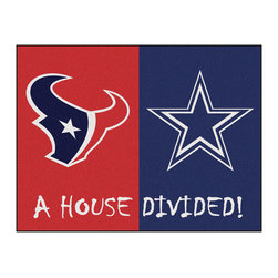 Fanmats - NFL Texans-Cowboys House Divided Accent Rug - Features: