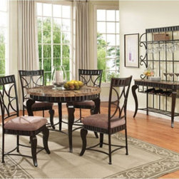 Acme Furniture - 5 Pieces Galiana Brown Round Marble Top Dining Table Set - 1828 - The Galiana transitional dining collection reflects Brown marble stone top, espresso tapered legs and Fabric Upholstered seat. Also features decorative server (optional) with wine storage.