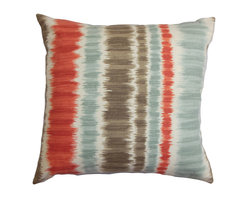 """The Pillow Collection - Odile Stripes Pillow Red Blue, 20"""" X 20"""" - This contemporary striped throw pillow gives off a modern twist to your home. The stripe pattern features alternating shades of red, blue, white and brown. Put together a chic look in your living room or bedroom by adding this square pillow. Mix and match with solids and other patterns from our pillow collection. Crafted from 100% cotton material. Hidden zipper closure for easy cover removal.  Knife edge finish on all four sides.  Reversible pillow with the same fabric on the back side.  Spot cleaning suggested."""
