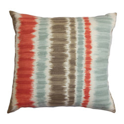 "The Pillow Collection - Odile Stripes Pillow Red Blue, 20"" X 20"" - This contemporary striped throw pillow gives off a modern twist to your home. The stripe pattern features alternating shades of red, blue, white and brown. Put together a chic look in your living room or bedroom by adding this square pillow. Mix and match with solids and other patterns from our pillow collection. Crafted from 100% cotton material. Hidden zipper closure for easy cover removal.  Knife edge finish on all four sides.  Reversible pillow with the same fabric on the back side.  Spot cleaning suggested."