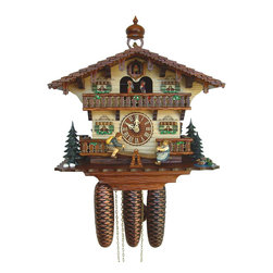 Schneider Cuckoo Clocks - 13 in. 8-Day Black Forest House Cuckoo Clock - 8-day rack strike movement. Cuckoo calls and strikes every half and full hour. Music on the full hour. Stop strike device. Wooden cuckoo, dial with roman numerals and hands. Full automatic night shutoff. Moving children figurines on teeter-totter with animals figurines. Made from wood. Antique finish. Made in Germany. 13 in. W x 7.9 in. D x 13 in. H (17.2 lbs.). Care Instructions
