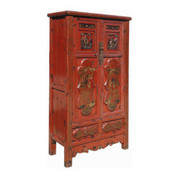 "Golden Lotus - Gold Flower Painting Carving Armoire Red Chinese Antique  Cabinet - Look at this Chinese antique armoire which is made of solid elm wood.  The front of cabinet has original flower gold painting and carving on it.  It should be gorgeous to decorate your house.Outside Dimensions: 37""Wx16.5""Dx67.5""H"