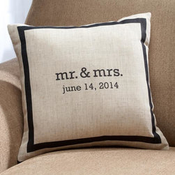 """Exposures - Mr. & Mrs. Personalized Pillow - Overview Celebrate happily ever after with a personalized pillow commemorating  the day you both said """"I do"""". Black accents give a classy yet modern vibe. The perfect accent for a bed or settee, this personalized Mr and Mrs pillow would make a thoughtful wedding or anniversary gift for the happy couple. Features Available in off-white linen (55% linen, 45% cotton) or white cotton (100% cotton) Insert is 100% polyester  Decorative pillow cover is removable  Spot clean cover   Personalization  Specify the month, date, and year in the format month/dd/yyyy Item is printed exactly as typed No returns on personalized items unless the item is damaged or defective   Specifications  Measures 14"""" x 14""""   Shipping  Please allow 2 to 3 days for personalized items"""