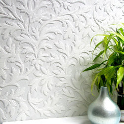 Brewster - Anaglypta High Leaf Paintable Textured Vinyl Wallpaper - Luscious florals flow across the walls in this fashionable, paintable wallpaper. Each wallpaper bolt is 20.9 inches wide and 33 feet long, covering about 56 square feet. The pattern has a 21.26 inch repeat and a Straight match.