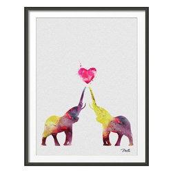 KidsPlayHome - Elephant Love Wall Art - Playroom Art Print