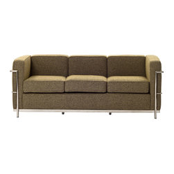 LexMod - Le Corbusier Style LC2 Sofa in Oatmeal Wool - Urban life has always a quandary for designers. While the torrent of external stimuli surrounds, the designer is vested with the task of introducing calm to the scene. From out of the surging wave of progress, the most talented can fashion a force field of tranquility.