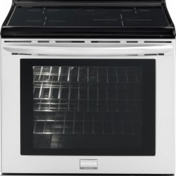 """Frigidaire - FGIF3061NF Gallery 30"""" Freestanding Induction Range with True Convection  Induct - The range features a single convection fan circulates hot air throughout the oven for faster and more even multi-rack baking The induction cooktop makes cleaning faster and heats the pan so that spills falling on the cooktop will not cause burns on t..."""