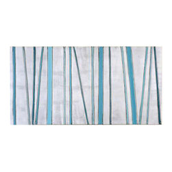 Uttermost True Blues Modern Art - Hand painted canvas w/high gloss finish stretched over wood vibrant shades of blue are used in this hand painted artwork on canvas that features a high gloss finish. The stripes are raised providing a 3-dimensional effect. The canvas is stretched and attached to a wood frame. Due to the handcrafted nature of this artwork, each piece may have subtle differences.