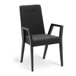 Bryght - Melvie Liquorice Ebony Dining Armchair - Add a fun twist to a modern or a traditional dining table with the Melvie dining armchair. Modern clean lines define the stand out leg design which alternates as a comfortable resting spot.