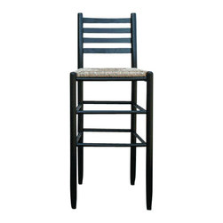 Dixie Seating - 30 in. Woven Seat Ladderback Barstool in Blac - Designed in a classic, country inspired style, this ladder back bar stool will be a warm, inviting addition to any interior design. The stool has a woven rush seat and is well suited to casual dining or entertaining. Includes one barstool. Table not included. Classic ladder back barstool. Made of solid ash hardwood. Rush seat18 guage steel. Made in the USA. No assembly required. Underside is unsanded. Seat height: 30 in.. Weight Capacity: 250 lbs.. 17.5 in. W x 14.5 in. D x 42 in. H