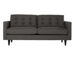 Apt2B - The Logan Sofa, Firewood - Add a bit of vintage glamour to your space with the Logan. Sleek wood legs and button tufted back cushions take this modern shape to an elevated level. The ultimate show piece for your stylish room. Each piece is expertly handmade to order in the USA and takes around 2-3 weeks in production. Features a solid hardwood frame and upholstered in a textured poly-blend fabric.