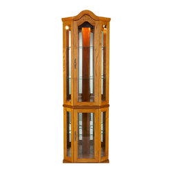 Holly & Martin - Riley Lighted Corner Curio Cabinet, Golden Oak - Display your collectables with pride in this lighted curio cabinet. Mirrors are present on both back edges to enhance the lighting of your items and give more visual depth. The golden oak finish complements the simple straightforward design with tall vertical panes and decorative arch top. Two adjustable shelves are present in the upper cabinet that can be raised, lowered, or removed to suite your needs. Additionally, the lower cabinet also contains one adjustable shelf. This lighted corner curio is sure to become a cherished piece of furniture in your home.