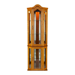 Riley Lighted Corner Curio Cabinet, Golden Oak