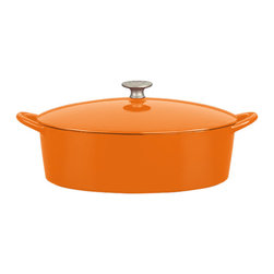 Dansk - Mario Batali by Dansk 6-quart Oval Persimmon Dutch Oven - This oval Dutch oven by Mario Batali for Dansk is perfect for roasting whole chickens,pot roasts,simmering stews and more. It's crafted of cast iron,which is extremely durable.