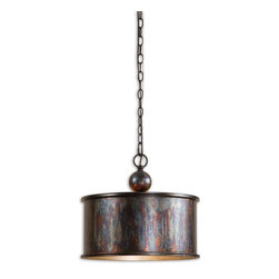 Albiano 1 Light Oxidized Bronze Pendant - *Complex Tonalities Of Metallic Oxidation Enrich These Classic, Simple Shapes.