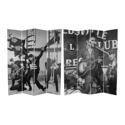 "Oriental Furniture - 6 ft. Tall Double Sided Elvis Presley Acoustic Canvas Room Divider - Classic black and white photos of the young Elvis Presley, printed on opposite sides of a limited edition four panel room divider. Elvis with guitar in a live performance as well as dancing in ""Jail House Rock."" Pop images from early in rock and roll history, great for casual home interiors as well creative studio or office decor."