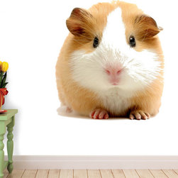 Wallmonkeys Wall Decals - Guinea Pig over White Wall Decal - 18 Inches W x 12 Inches H, 60-Inch X 40-Inch - Easy to apply - simply peel and stick!