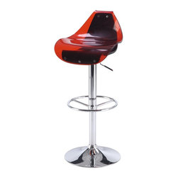 Global Furniture USA - M250BS Red & Black Acrylic Chromed Adjustable Bar Stool Set of Two - The M250BS bar stool features a unique modern design that works for any decor it's placed in. This stool is is crafted with a unique acrylic design of two separate pieces. The seat comes in a red top color and black for the bottom. The stool is height adjustable with a built-in hydraulic mechanism. The base features a foot rest and is crafted of metal with a chrome finish. The price shown includes two stools only.