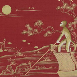 Singerie Wallpaper, Tamarin - For the ultimate in monkey decor, try this hand-painted wallpaper by Fromental.