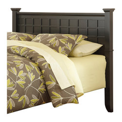 None - Arts and Crafts Black Queen/Full Headboard - Sleek and modern, this stylish Arts & Crafts headboard will bring bold, sophisticated touch to your bedroom decor. This headboard features a durable wood construction and rich black finish.
