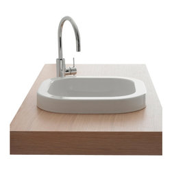Scarabeo - Square White Ceramic Built-In Sink, No Hole - Contemporary design square white ceramic sink. Stylish built-in bathroom sink without overflow. Made in Italy by Scarabeo.