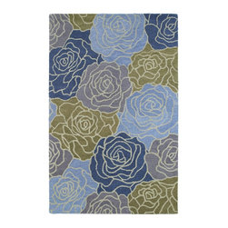 Kaleen - Country & Floral Botany 8'x11' Rectangle Blue Area Rug - The Botany area rug Collection offers an affordable assortment of Country & Floral stylings. Botany features a blend of natural Blue color. Hand Tufted of 100% Wool the Botany Collection is an intriguing compliment to any decor.