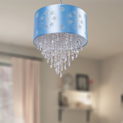 Ceiling Lights - A baby blue shade circles a decorative array of shimmering falling crystals from the center piece. This 17 inch tall pendant has a fully adjustable cord that can be extended to a maximum total length of 48 inches. The included shade is approximately 7 inches tall and 15 inches wide.