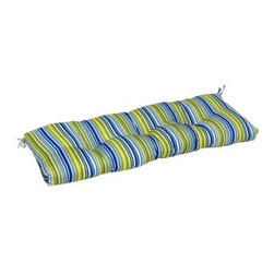 Greendale Home Fashions Indoor Bench Cushion - 51 x 18 in. - Vivid Stripe - Pad your entryway's resume with the Greendale Home Fashions Indoor Bench Cushion - 51 x 18 in. - Vivid Stripe. Overstuffed with lofty 100% polyester fill and covered with a swath of bright blue, white, and green striped fabric, this plush bench cushion secures snugly to furniture with string ties at the back corners. Circle tacks prevent the filling from shifting, and mitered edges are a crisp, clean finish. Includes 30-day defect-free manufacturer's guarantee. About Greendale Home Fashions Greendale Home Fashions began operations in 1954 as a decorative products manufacturer offering sewing, curtains, cushions, and pillows during the height of the department store era. Over the next 30 years, they expanded their offerings by moving into interior and exterior home fashions. Quality and comfort have been touchstones for Greendale Home Fashions since the very beginning, and those standards are still evident today as they strive to provide the most plush and comfortable cushions on the market. In 2006, on the success of their cushions, Greendale Home Fashions extended their comfort and quality to their four-legged customers by expanding into the production of economy pet beds and supplies. As a small US business, Greendale Home Fashions is proud to bring the best in design and construction to their customers and their pets.