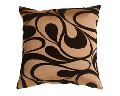 "Pillow Decor - Pillow Decor - Dramatic Swirls Gold 19"" Square Decorative Pillow - Beautiful black flocked velvet swirls across a soft coppery gold background on this contemporary 19 inch square pillow. Dramatic and elegant, this throw pillow would look fantastic on a black leather sofa!"