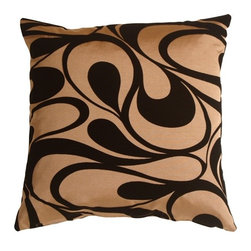 """Pillow Decor - Pillow Decor - Dramatic Swirls Gold 19"""" Square Decorative Pillow - Beautiful black flocked velvet swirls across a soft coppery gold background on this contemporary 19 inch square pillow. Dramatic and elegant, this throw pillow would look fantastic on a black leather sofa!"""