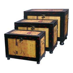 """Oriental Furniture - Raging Stallions Storage Boxes (Set of Three) - Featuring a reproduction of the famed Han Gan hand scroll depicting """"Night Shining White,"""" a magnificent steed belonging to the emperor, these elegant trunks are finished in black and red matte lacquer and fitted with cunning brass latches. Built with Philippine mahogany and elm wood, this furniture features an indigenous Fujian lacquering style which uses seven carefully polished layers of lacquer-tree sap to create a complex, beautiful, and sturdy surface; each piece is then antique-finished for a gorgeous, authentic look."""