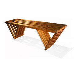 GloDea - GloDea Bench X60 - Light Brown - The XQuare collection was conceptualized by the Brazilian designer Ignacio Lejarcegui Santos. This furniture line of unique designs is handcrafted 100% in Jacksonville, FL (USA). It is made from eco friendly premium southern yellow Pine, assembled using high quality stainless steel hardware and shipped in recyclable packaging! The XQuare collection has a modern and daring design with eye-catching lines that will surely get you many great compliments.