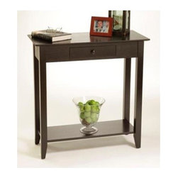 Convenience Concepts - American Heritage Hall Table w Drawer (Black) - Color: BlackPull out drawer and lower shelf. Solid pine wood legs. Top, apron and shelf are made from MDF with stained birchwood veneer. Limited warranty. Assembly required. 31.5 in. W x 14 in. D x 30 in. H (31.4 lbs.)Matches other items in American Heritage Collection.