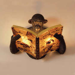 """Wall Lights / Sconces - This Maitland-Smith Monkey """"reading a book"""" sconce is a great expression of whimsical design. The Monkey is a fiberglass casting, while the book is hand inlaid with crackled Penshell and features chocolate leather with hand tooled brass embossing. Bulbs not included."""