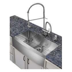 Vigo Industries - Steel Kitchen Sink and Faucet Set - Includes soap dispenser, matching bottom grid and sink strainer