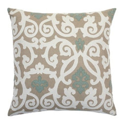 "Z Gallerie - Gabriel Pillow 24"" - Add subtle sophistication to your furniture with the addition of our exquisite Venetian blue Gabriel Pillow. The pillow, made of textural natural linen, is appliqued with a graceful design in Venetian blue and taupe woven cotton, neutral colors that effortlessly work with a variety of furniture pieces.  Filled with a plush feather insert and finished with a zipper closure."