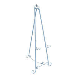 Zeckos - Sky Blue Starfish Art Stand Display Easel 58 In. - This large metal art display easel has a glossy light blue finish with starfish accents that will compliment any beach themed decor. It measures 58 inches tall, 22 inches wide at the bottom, and up to 26 inches deep. The rear support stand can move freely up to 26 inches from the base (further extension is restrained by a linked chain). Two display holders 3 inches deep can be set 12 inches, 19 inches, or 26 inches from the ground. This decorative easel is great for displaying signs, photos, and artwork in homes, offices and art galleries. It assembles in moments, with no tools required.