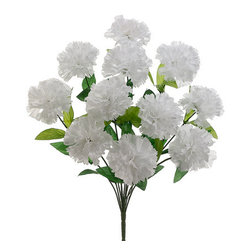 Silk Plants Direct - Silk Plants Direct Carnation Bush (Pack of 12) - White - Pack of 12. Silk Plants Direct specializes in manufacturing, design and supply of the most life-like, premium quality artificial plants, trees, flowers, arrangements, topiaries and containers for home, office and commercial use. Our Carnation Bush includes the following: