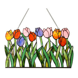 Chloe Lighting - Tulipa Tulips Window Panel - Glass, metal & bronze. Hanging chain (included). Overall: 18 in. L x 18 in. W x 11 in. H (3.2 lbs.)Hand crafted glass window panel featuring colorful flowers. These Flowers are designed with intricate cut glass and touches of color. This glass piece is adorned with a metal frame coated in a vintage patina with designed anchors. Wonderful addition to any window. Only top quality materials used in this piece.