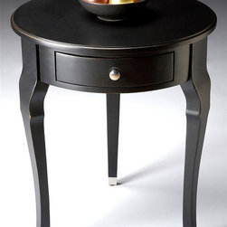 Butler - Modern Round Accent Table w Drawer in Black L - With brushed nickel accents on the hardware and feet, this contemporary accent table will be a fashion forward addition to your home's decor. Featuring a single storage drawer, the table is constructed of hardwoods and cherry veneer and is finished in black licorice stain. Selected hardwoods, Wood products and Cherry veneer. Brushed nickel finished leg caps and hardware on single drawer. 22 in. Dia. x 26 in. H