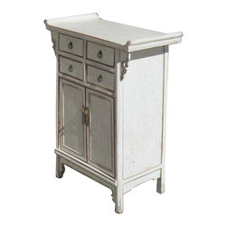 Golden Lotus - White Nightstand End Table Chinese Ming Style Cabinet - This is a Chinese ming style nightstand end table which is made of solid elm wood.