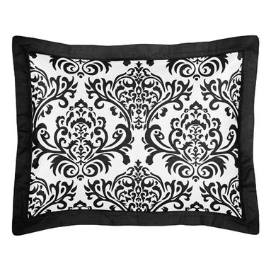 Sweet Jojo Designs - Isabella Black and White Pillow Sham by Sweet Jojo Designs - The Isabella Black and White Pillow Sham by Sweet jojo designs, along with the bedding accessories.