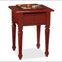 Game Accent Side Table - This is not only a sweet little accent table, but also a pull-out backgammon and chess board. I'd love to have this for entertaining.