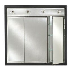 Afina Signature Contemporary Lighted Triple Door 38W x 34H in. Recessed Medicine - Remodeling your master bath is easy with the Afina Signature Collection Contemporary Lighted Triple Door 38W x 34H in. Recessed Medicine Cabinet. This medicine cabinet is a one stop shop! Not only is available in over 50 modern frame styles and finish options, it also features a four-light bar above, interior shelving, plenty of mirrors, and is recessed into the wall to help conserve space. A beveled, three-way split mirror set into the sleek frame. The doors open to reveal a fully mirrored back, and mirrors on the backside of each door. Three adjustable glass shelves are tucked behind each door, for a total of nine. About AfinaAfina Corporation is a manufacturer and importer of fine bath cabinetry, lighting fixtures, and decorative wall mirrors. Afina products are available in an extensive palette of colors and decorative styles to reflect the trends of a new millennium. Based in Paterson, N.J., Afina is committed to providing fine products that will be an integral part of your unique bath environment.