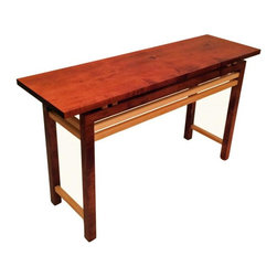 "Mayfield Modern - Modern Meets Rustic Hall or Sofa Table - Modern meets rustic... 53"" long, 16 1/4"" wide and 30"" tall. Custom dyed to a brilliant red brown color with natural accents all oiled to a rough texture to give a rustic flavor."