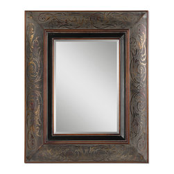 Uttermost - Bovara Rustic Bronze Mirror - Reflect yourself with finery. A beveled mirror sits within a deep, ornately detailed frame — the perfect accent piece for your favorite traditional setting.