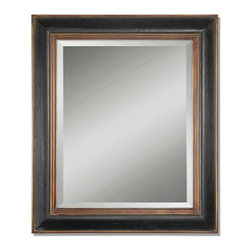 Uttermost - Fabiano Hand Rubbed Black Rectangular Mirror - This wood frame features a hand rubbed black finish with a gray glaze. Inner and outer lips are antiqued gold. Mirror is beveled.