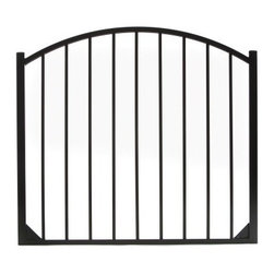 Specrail Cheshire Aluminum Arched Gate 2-Rail Panel - 4.5 ft. - Beautiful, sophisticated, and elegant, the Specrail Cheshire Aluminum Arched Gate 2-Rail Panel - 4.5 ft. not only looks great but also adds security to your property. Designed to give you the beauty of wrought iron, this gorgeous arched gate is constructed from strong and durable aluminum that is fully welded and will not rust. Welded corner gussets add strength to this already durable arched gate. It also has a maintenance-free design which means you won't have to worry about painting or staining. Two self-closing hinges and a pad-lockable gravity latch are included. Easy to install, this gate is made to be used with the DIY Fence Universal Fence Post and DIY Fence Asbury 482 Fence Panel System. It is advised that you do not mix and match fence brands.Additional FeaturesDesigned to be used with DIY Fence Universal Fence PostUse with the DIY Fence Asbury 482 Fence Panel SystemNot advisable to mix and match fencing brandsAll welded construction is durable and strongGorgeous and functional gateWelded corner gussets add strengthIncludes 2 self-closing hingesAlso includes pad-lockable gravity latchMeets BOCA pool code requirements in most areasGives you the beauty of traditional wrought ironEasy to installAbout SPECRAILSPECRAIL has been designing aluminum products of the highest quality for over 50 years. They offer the widest selection of any ornamental aluminum fencing company, and their extraordinary line includes 11 styles, 4 grades, and 5 colors. SPECRAIL brings beauty, strength, and a traditional wrought iron look to their maintenance-free aluminum fencing. Every piece they manufacture represents their strong commitment to meeting the needs of their customers and their dedication to quality.
