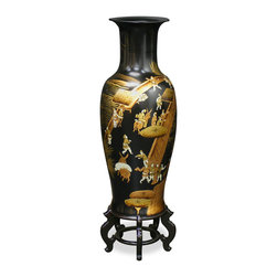 China Furniture and Arts - 36in Chinoiserie Scenery Design Porcelain Vase - Inspired by the well-known Qing Dynasty painting, the Chinese Spring Festival, our porcelain vase gracefully depicts a bustling Chinese festival scene hand-painted in Chinoiserie style. Perfect as a decorative accent in any space where it is sure to be admired for its sophisticated beauty. Imported. Matching stand sold separately.